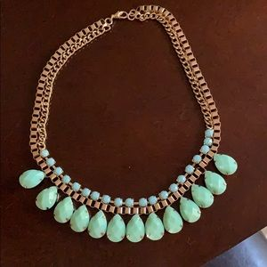 Sea foam green and gold necklace